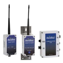 HerdStar's Remote and Base Radios with a Communication Hub
